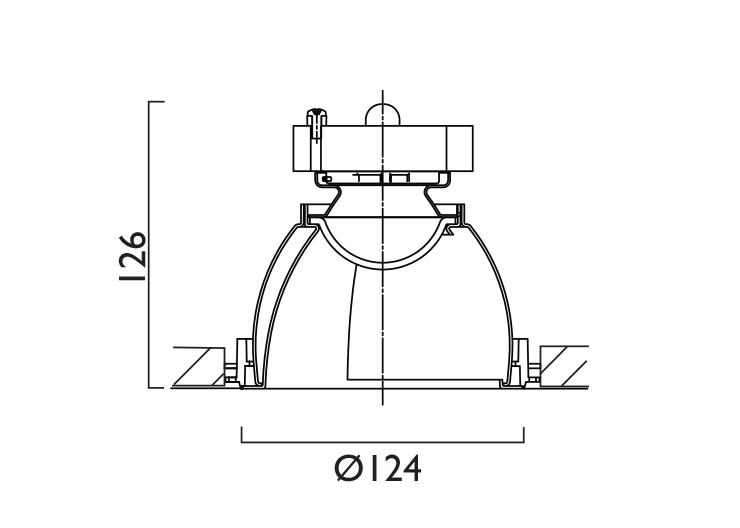 VP X124 Corner Wallwasher Line Drawing